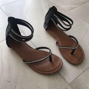 Black and Diamond Sandals